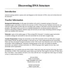 Genetics DNA Structure Laboratory Lesson Plan