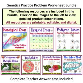 Genetics Practice Problem Worksheets - Set of 7 worksheets