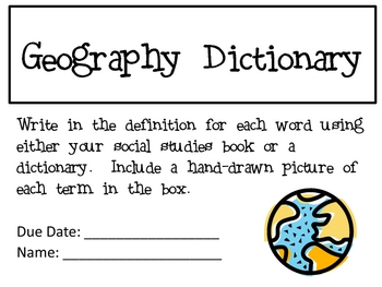 Geography Dictionary, 2 Versions, With 52 Terms  (30 pages total)