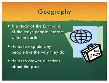 Geography Five Themes Powerpoint Lecture Notes with Activities