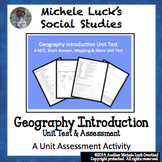 Geography Introduction Unit Test Assessment M/C, Mapping & More