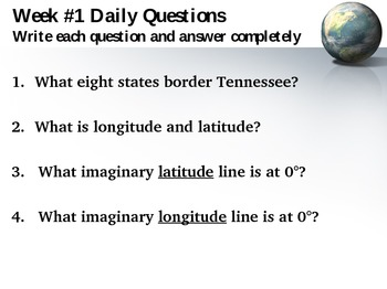 Geography Questions Bellringer