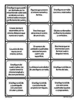 Geometria - Trajetas De Intercambio - Math Games and  Lesson Plan