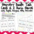 Geometry Bundle: Task Cards &amp; 2 Bump Games Lines, Angles, 