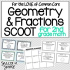 Geometry & Fractions Scoot for 2nd Grade (Common Core)