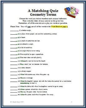 Geometry Parodies: Matching Activity of Geometric Terms