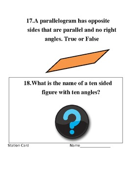 Geometry Stations/Question Cards- Common Core Aligned