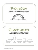Geometry Vocabulary Cards Definitions, Pictures Common Core Math