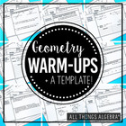 Geometry Warm-Ups Bundle + Smart Board Files!