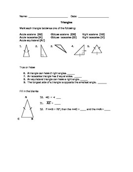 Geometry Worksheets for the Middle School