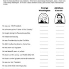 George Washington / Abraham Lincoln Quiz / 1st Grade / 2nd Grade