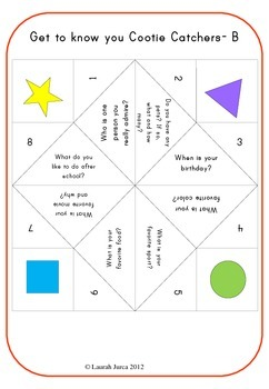 Get to know you Cootie Catchers