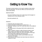 Getting to Know You - A Back to School Activity