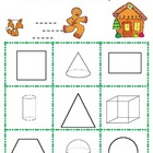 Gingerbread 2-d and 3-D Shape Bingo Game