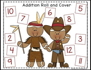 Gingerbread Cowboy Roll & Cover Addition & Subtraction Games!