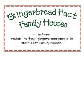 Gingerbread House Fact Families