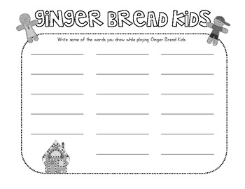 Gingerbread Kids Sight Word Game