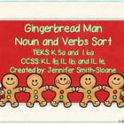 Gingerbread Man Noun and Verbs Sort