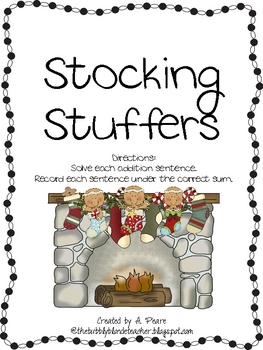 Gingerbread Stocking Stuffers Math Center- Addition Sums 5-12
