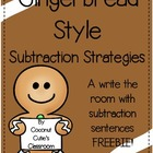 Gingerbread Style Subtraction Sentences {Write the Room}