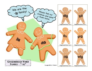 "Gingerbread ""-ig"" Word Family Sample"