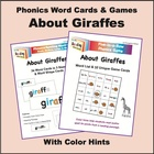 Giraffes Phonics Word Cards & Games, with Color Hints on Vowels