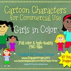 Girls Color Cartoon Characters Clip Art for Commercial Use
