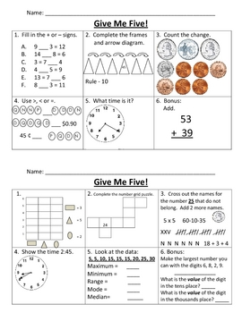 Give Me Five Math Review #2