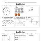 Give Me Five Math Review Bundle