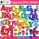 Glitter Alphabet Letters (Uppercase) Clipart - PNG/300dpi 