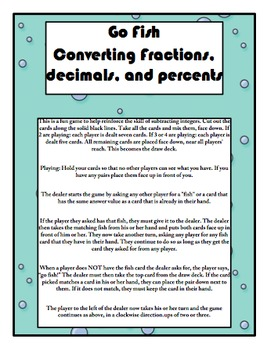 Go Fish Fraction, Decimal, Percent Conversion