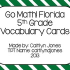 Go Math! Florida 5th Grade Vocabulary Cards Common Core Word Wall