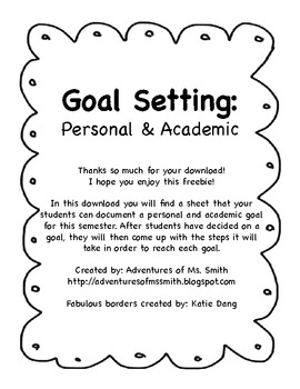 Goal Setting: Personal and Academic