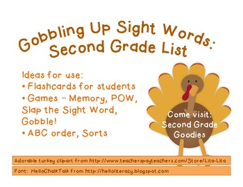 Gobbling Up Sight Words:  Second Grade Dolch Words