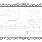 Gr 1 Common Core Math Skills Sheets Freebie for third nine weeks