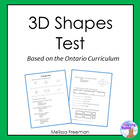 Grade 2 &amp; 3 3D Shapes Quiz - based on Ontario Curriculum