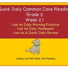 Grade 3 Daily Common Core Reading Practice Week 21 {LMI}