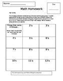 Grade 3/4 Introductory Multiplication Homework--Common Cor