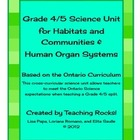 Grade 4/5 Science Unit (Habitats and Organ Systems) for On