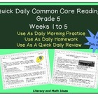 Grade 5 Daily Common Core Reading Practice Weeks 1-5 {LMI}