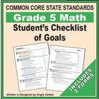 Grade 5 Student&#039;s 2-Page Checklist of Math Objectives for CCSS