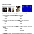 Grade 6 Academic Vocabulary Assessment/Test