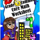 Grade 6 Common Core: Expressions and Equations Math Worksheet 9.2