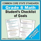 Grade 6 Student's 2-Page Checklist of Math Objectives for CCSS