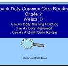 Grade 7 Daily Common Core Reading Practice Week 17 {LMI}