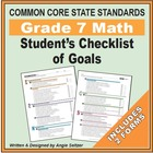 Grade 7 Student's 2-Page Checklist of Math Objectives for CCSS