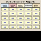 Grade 7 and/or 8 Standardized State math Test Jeopardy Game