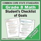 Grade 8 Student's 2-Page Checklist of Math Objectives for CCSS