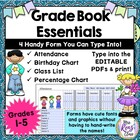 Grade Book Essentials - Attendance, Class List, Birthday C