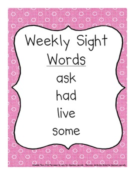 Grade One Dolch Words Weekly Sight Word Activities America